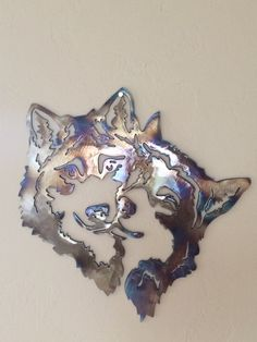 Two Wolves Cuddling Metal Wall Art Decor