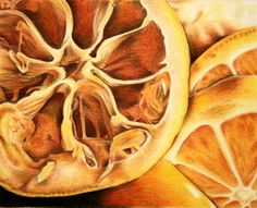 AP Studio Art project by Sucha Chantaprasopsuk of Reavis High School - I like that these are extreme close up of fruit so that it has so much intricate detail and realistic if you were to zoom in that far on fruit. High School Art Projects, Art School, Ap Drawing, Drawing Of Food, Colour Drawing, Texture Drawing, Natural Form Art, Natural Forms Gcse, Natural Shapes