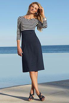 A cute spin on the whole marinière craze! #chadwicks #dress #stripes