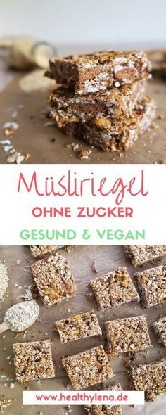 Vegane Müsliriegel selber machen ++ Meeeegalecker & gesund My vegan granola bars are currently the perfect choice for a quick snack in between, because they provide energy quickly and taste grea Gluten Free Snacks, Quick Snacks, Healthy Snacks, Vegan Granola Bars, Muesli Bars, Barre Muesli, Sports Snacks, Chocolate Granola, Cornflakes Chocolate