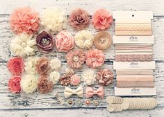 DIY Baby Headband Making Kit - Peach, Beige, Ivory, Champagne Collection - MAKES 20+ HEADBANDS! Shabby Chic & Glam Flower Headbands by LuxeSupplyCo on Etsy https://www.etsy.com/listing/252293443/diy-baby-headband-making-kit-peach-beige