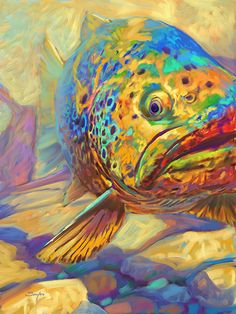 """ Walters Pool "" Brown Trout in Stream Painting, fish art"