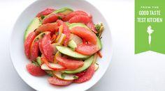 Tipsy Grapefruit Salad by tastingtable: Antioxidant Rich Fresh Start! (A cocktail masquerading as a salad.) #Grapefruit #Avocado #Salad