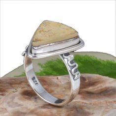 NEW DESIGNER 925 STERLING SILVER LEAF JASPER AMAZING RING 4.75g R11230 SZ-7.5 #Handmade #Ring