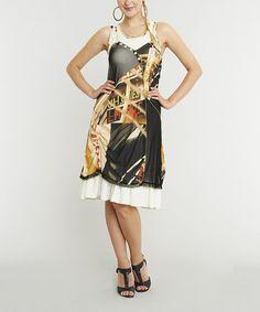 Black & Yellow Abstract Sleeveless Dress #zulily #zulilyfinds