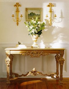 console tables -  home entry decor + console table and carved wood sconces in gold leaf finish