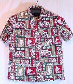 Malihini Hawaii Size XL Floral Hawaiian Print Loud Shirt Boats Hibiscus Turtles #Malihini #Hawaiian
