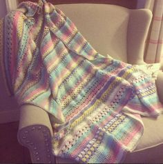 Large Mixed Stitch Blanket by SpitspotLovesShop on Etsy