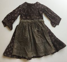 Sweet Liberty Homestead primitive brown calico doll dress with old grungy farm apron. Super sweet. Come see us for more country primitives!!!