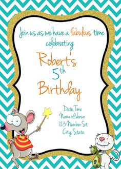Toopy and Binoo Birthday Invitation Toopy and by AdelesAccessories Birthday Name, 4th Birthday, Birthday Ideas, Birthday Parties, Custom Items, Birthday Party Decorations, Rivers, Birthday Invitations, Party Time
