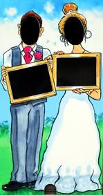 Wedding Couple - chalk you own message on the board. Face in the Hole board for hire.