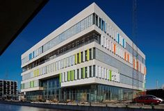 """www.dac.dk - """"Ørestad High School (Ørestad Gymnasium) is the first school in Denmark with an architectural design that corresponds to the new visions on content, subject matter, organization, and learning systems that are part of the Danish reforms for high schools that came into effect on August 1, 2005."""""""