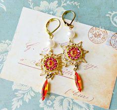 razzle dazzle. vintage swarovski star earrings, tangerine and fuchsia, hyacinth jewels, pearls, art nouveau, retro glam by FabFleaMarket on Etsy