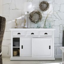 Halifax White Painted Buffet Sideboard with Sliding Doors
