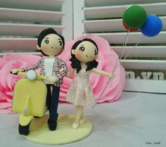 Vespa wedding cake topper clay doll, Yellow wedding theme clay miniature with balloon clay figurine, bridal shower present, anniversary gift on Etsy, $117.50
