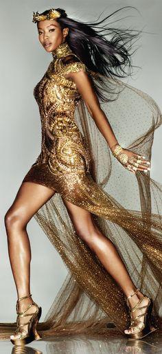 Gold Fashion, Runway Fashion, High Fashion, Fashion Beauty, Female Fashion, Fashion Black, Women's Fashion, Vogue Uk, Runway Models