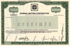 Beautiful engraved RARE specimen certificate from the  General Motors Corporation  printed in 1987. This historic document was printed by American Bank Note Company and has an  ornate border around it