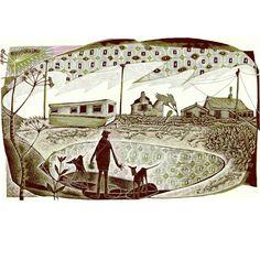 Neil Bousfield 'A Happisburgh Caravan' engraving 195x120 mm