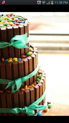 Amazing cake yummy it is kit Katz and skittles or eminems