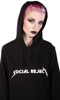"""Hoody dress with extra long double layered sleeve and hem. Metal style logo chest print. Relaxed fit. 100% Cotton. Model is 5'3"""" and is wearing size Small. WE SHIP WORLDWIDE! TAG YOUR PURCHASE: #disturbiaclothing IN STOCK & SHIPS WITHIN 24 HOURS"""