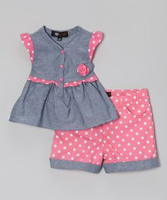 Another great find on #zulily! A.B.S. by Allen Schwartz Pink & Gray Polka Dot Tunic & Shorts - Infant, Toddler & Girls by A.B.S. by Allen Schwartz #zulilyfinds