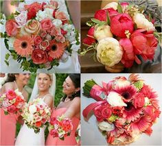 right is beautiful. I like the bright pink peonies but maybe mixed with the softer pinks/corals.Top right is beautiful. I like the bright pink peonies but maybe mixed with the softer pinks/corals. Coral Wedding Flowers, Wedding Flower Photos, Wedding Flower Arrangements, Flower Centerpieces, Flower Bouquet Wedding, Wedding Colors, Bridal Bouquets, Wedding Centerpieces, Coral Weddings