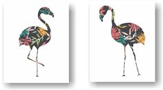 Tropical Floral Flamingo Kitsch Silhouette Art Unframed Prints (Set of 2). Floral Flamingo Art Print Set of 2. A modern take on the kitsch flamingo. Hang it in your bedroom or home office. Unframed Prints / Not Canvas 5x7, 11x14 & 12x16 sizes have a small border for easy framing with a mat 8X10 artwork is printed on a 8.5x11 inch sheet for easy framing with a mat Printed on premium heavyweight matte paper with archival inks Color may vary slightly due to differences in computer monitor...