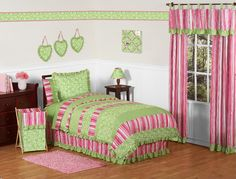 Sweet Jojo Designs Olivia Collection 3pc Full/Queen Bedding Set, Green