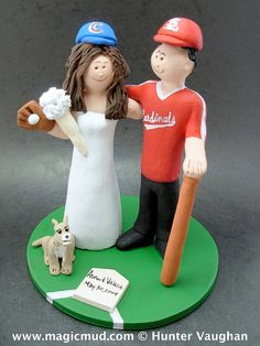 St. Louis Cardinals Baseball Wedding Cake Topper    Wedding Cake Topper for MLB Baseball Fans, custom created for you!    $235   #magicmud   1 800 231 9814   www.magicmud.com