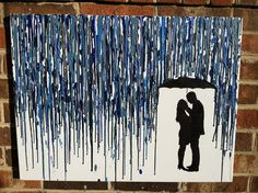 Melted Umbrella Crayon Art with Silhouette