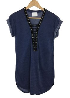 - Roll-up sleeves - lace-up neckline - blue color - cotton and polyester - made in USA