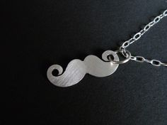 """Sterling silver """"Just Under Your Nose"""" mustache necklace."""