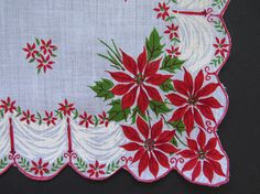 Vintage Christmas Handkerchief Red Poinsettias Candles Hanky