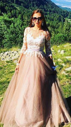 #eDressitStyle Elegant Illusion Neck Evening Dress