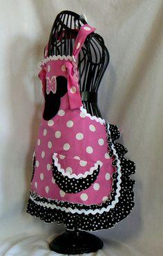 Minnie Mouse Girls Apron, Retro Style Ruffle Childs Full Apron, Size 9/10, Fun Pink. $38.00, via Etsy.
