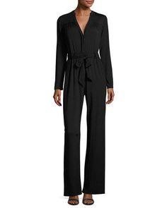 TDBBN Rachel Pally Lizee Long-Sleeve Tie-Waist Jersey Jumpsuit, Plus Size
