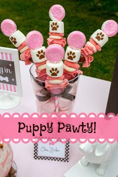 Bottle Pop Parties: Puppy Pawty! Candy Cabobs from @Curlicues & Confections