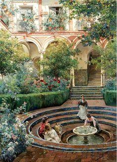 A Villa Garden ~ Manuel Garcia y Rodriguez ~ (Spanish: 1863-1925)