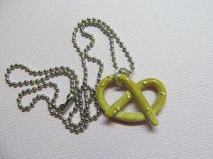 Polymer Clay Pretzel Necklace Food Jewelry by SparklyPotatoe