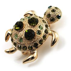 Small Emerald Green Swarovski Crystal Turtle Brooch (Gold Tone) * You can find out more details at the link of the image. (This is an affiliate link and I receive a commission for the sales)
