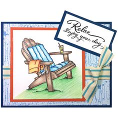 Send a relaxing note with a card like Jamie Martin created with the single adirondack stamp.
