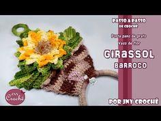 Porta pano de prato vaso de Girassol - JNY Crochê