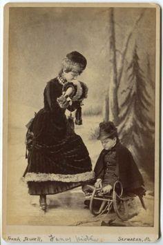 Victorian-Girls-Ice-Skates-Sled-Snow-Beautiful-WInter-Scene-Scranton-PA