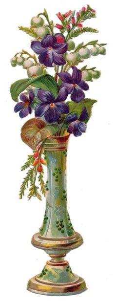 Victorian Floral Vase Scrap