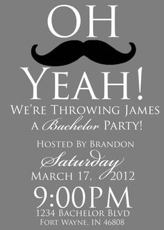 Getting Married Bachelor Party Mustache Invitation Invite by PURPLEgalore on Etsy, $14.00