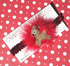 Limited Edition Rudolph the Red Nosed Reindeer headband with removable hair clip by heysista on Etsy