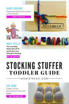 The 25 Best Toddler Stocking Stuffers Baby's First Christmas Gifts, Toddler Christmas Gifts, Christmas Stocking Fillers, Christmas Gift Guide, Toddler Gifts, Kids Christmas, Gifts For Kids, Baby Gifts, Toddler Preschool