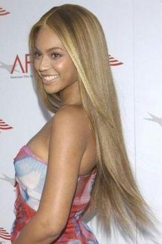 Long, straight, blonde