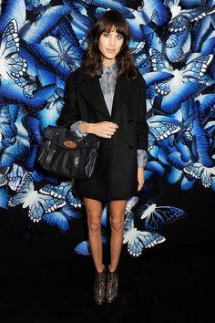Alexa Chung with an Alexa bag from Mulberry Autumn Winter 2013.