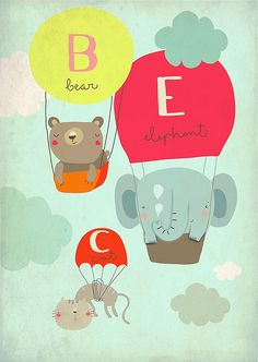 Cosmmia #art #illustration #bear #elephant #cat #hot #air #balloon #sky